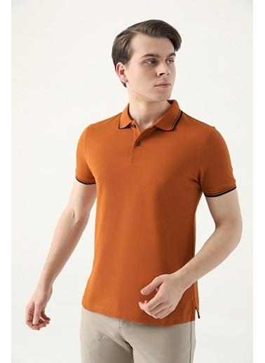 D'S Damat Slim Fit Pike Dokulu T-Shirt Kahve